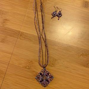Lia Sophia Purple Necklace & Earrings